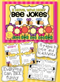"""If your students love to laugh and love to tell jokes, this is the perfect addition to your classroom. """"I Have, Who Has"""" Bee Jokes Edition will have your students laughing while practicing their reading and presentation skills. This game can be used for brain break activities and is also a great resource for substitute teachers."""