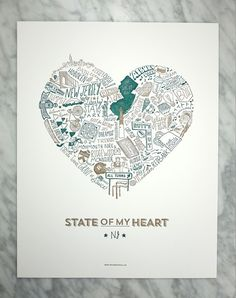 """The State of My Heart series is for all our perfectly proud state lovers! These art prints are hand illustrated and letterpressed in teal and gold on 11 x 14 off-white matte paper. This print would make for a unique house warming or baby gift, not to mention the perfect way show your state love. Embrace the Garden State!  Size: 11 X 14"""" Printing: Letterpress Ink: Teal & Gold Paper: 100lb Cover Off-White Matte  SOME ADDITIONAL NOTES: - Please note, colors vary between monitors and printers..."""