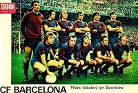 F. C. BARCELONA - Barcelona, España - Temporada 1974-75 - Sadurní, Costas, Neeskens, De la Cruz, Marinho y Migueli; Rexach, Juan Carlos, Cruyff, Asensi y Marcial - REAL MADRID 1 (Roberto Martínez) F. C. BARCELONA 0 - 05/01/1975 - Liga de 1ª División, jornada 15 - Madrid, estadio Santiago Bernabeu