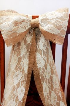 Burlap and Lace Rustic Bow -for the backs of chairs.