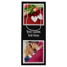 YOUR Instagram Photos Text & Color wine gift bag - craft supplies diy custom design supply special