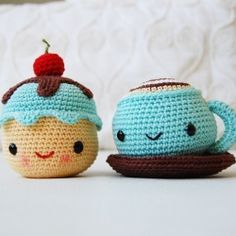 Amigurumi Crochet Pattern - Mr. Coffee and Miss Cupcake