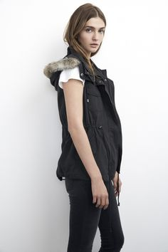 Hooded Parka Vest with faux fur. Cozy and so flattering.