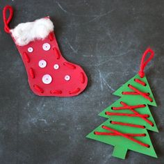 Make these fun and easy lacing Christmas ornaments with the kids!