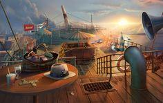 #ship #art #gameart #shipinterior #shipdeck #gaming #gamedev #gamedevelopmentart #game  #parasol