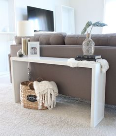 Happy Friday my friends! I've got quite a few requests for instructions on how I made my DIY wood console table behind my couch. Let me just say, it was so easy..and actually turned out better than I though!