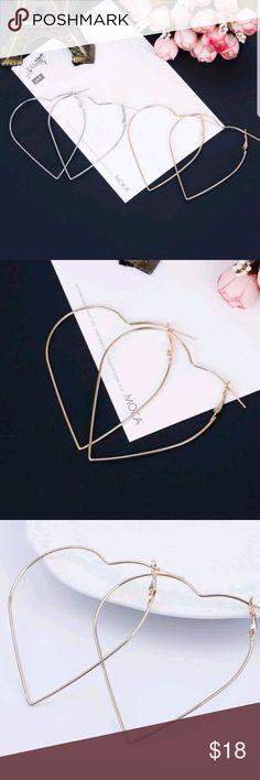 Heart Shaped Hoop Earrings Heart Shaped Hoop Earrings. Brand New Jewelry Earrings