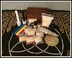 Wiccan Altar Box Kit ~ Triquetra Floral Carved Mango Wood Box  ~ Travel Altar Box ~ Witch ~ Wicca ~ Herbs ~ Candles ~ Oils ~ Incense by SummerlandBB on Etsy
