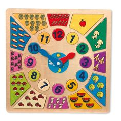"Learn to Tell the Time ""Clock"" - - In Stock. Multi-coloured wooden clock makes learning so easy. Encourages children to learn and trains the understanding of quantities. Tell The Time Clock, Puzzles, Wooden Numbers, Primary School Teacher, Teaching Time, Activity Toys, Wooden Clock, Funny Games, Puzzle Pieces"