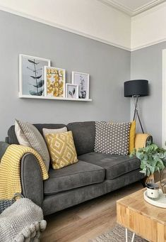Picture shelf above sofa in Victorian terrace house. Botanical prints, grey and … Picture shelf above sofa in Victorian terrace house. Botanical prints, grey and mustard colours. Mustard Living Rooms, Grey And Yellow Living Room, Navy Living Rooms, Living Room Decor Colors, Living Room Color Schemes, Home Living Room, Apartment Living, Interior Design Living Room, Living Room Designs