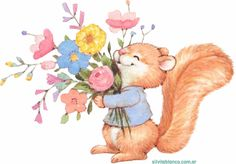 Cute squirrel holding flowers