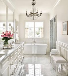 Enjoying my Saturday morning with coffee and some major design motivation! This gorgeous bathroom designed by one of my favorite designers…