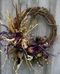 fall woodland flowers | Fall Wreaths Autumn Wreath Door Decor Woodland by NewEnglandWreath