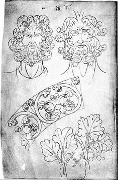 Green Man, pages from the sketchbook of Villard de Honnecourt (about 1230)