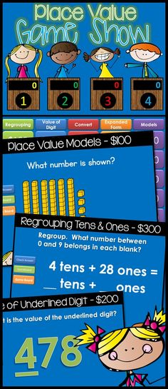 Place Value Jeopardy style game show! Excellent practice for your 1st and 2nd Grade students. With 25 practice problems, in a game show setting, your students will get lots of review. Game Show categories include: Regrouping Tens & Ones, Value of the Underlined Digit, Convert to/from Another Number, Expanded Form, Place Value Models $