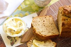 Banana bread with passionfruit butter. Classic banana bread gets an exotic makeover with tangy passionfruit butter. Banana Bread Recipe With Butter, Banana Bread Cake, Best Banana Bread, Butter Recipe, Passionfruit Butter, Passionfruit Recipes, Banana Bread Recipes, Cake Recipes, Brunch Recipes