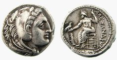The coin of Alexander the Great. Made in 325-323 B.C., the coin is said to display the face of Hercules on the front and his father Zues on the back. According to coinsoftime.com, the word ALEXANDROU is inscribed on the back of many coins that were found in the mainlands of Greece, some coins have been found with the inscription ALEXANDROU BASILEWS, or Alexander the King, however you would not find these in mainland Greece because the people did not want to be controlled by a king.