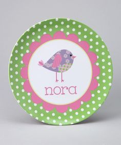 Take a look at this Birdie Personalized Plate by Lima Bean Kids on #zulily today!