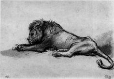 Lion resting - Rembrandt, 1652 (Museum Boijmans van Beuningen, Rotterdam, Netherlands), Wikipaintings