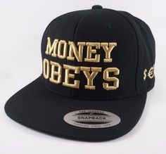 6cfcc892d2e Black Gold Flat Bill Snap Back Hat Money Obeys Hip Hop Embroidery