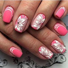 Attractive Rose Nail Art Designs Ideas For Summer Rose Nail Art, Pink Nail Art, Rose Nails, Flower Nail Art, Pink Nails, Orange Nails, Matte Nails, Nail Art Designs 2016, Cute Nail Designs