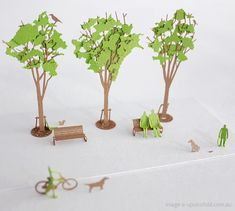 Japanese architectural paper models: Green trees!