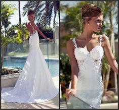 Wholesale 2014 Gorgeous Lace Applique Bead Spaghetti Straps Mermaid Backless Sexy Wedding Dresses White Or Ivory Open Back Vintage Bridal Gowns Chapel, Free shipping, $127.25/Piece | DHgate Mobile