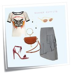 Thank God It's Summer! by yvetteyang1 on Polyvore featuring Gucci, TIBI, Alexandre Birman, Elizabeth and James, Post-It, ootd, summeroutfits and geewoofashion