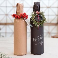 Dress Up Your Wine Gifts with These Creative DIY Gift-Wrapping Ideas - The kraft paper is a more eco-friendly option. Wine Bottle Gift, Wine Gifts, Wine Bottle Wrapping, Creative Gift Wrapping, Wrapping Ideas, Christmas Wine, Christmas Crafts, Christmas Holidays, Christmas Carol