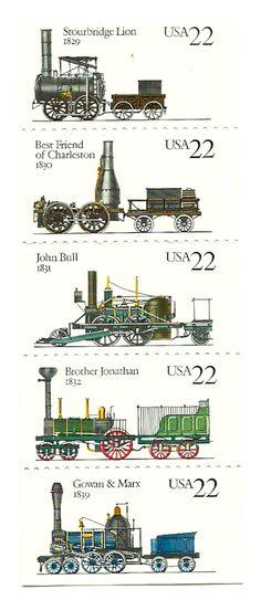 1987 22c Steam Locomotives - Strip of 5 - Unused US Postage Stamp