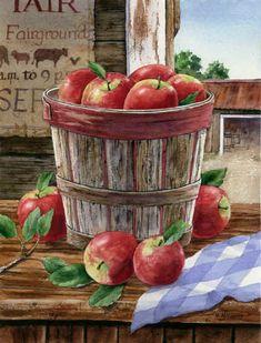 Orchard Basket Autumn Garden Flag Apples Fruit Farm Yard Banner x Decoupage Vintage, Vintage Diy, Harvest Time, Fall Harvest, Apple Baskets, Apple Decorations, Apple Art, Fruit Painting, Pintura Country