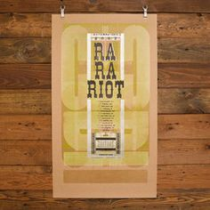 HAMMERPRESS   Ra Ra Riot Autumn Tour Poster (2007) This is the kind of effect I would go for with the more graphic, modern option.  A wash of colour in the text behind, and details in the foreground.