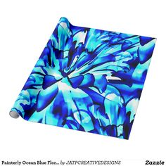 Painterly Ocean Blue Floral Wrapping Paper