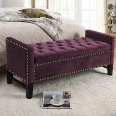 Inspired Home Columbus Velvet Modern Contemporary Button Tufted with Silver Nailhead Trim Multi Position Storage Bench, Plum Indoor Storage Bench, Tufted Storage Bench, Bench With Storage, Bedroom Storage, Hidden Storage, Storage Benches, Upholstered Bench, Dressing Chair, Tufting Buttons