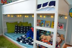 Kura Ikea love the book rail and lights Ikea Kids Bedroom, Boys Bedroom Decor, Girls Bedroom, Kura Cama Ikea, House Beds, Kid Spaces, Kid Beds, My New Room, Girl Room