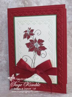 The stepped up version of the handmade Christmas card for the Mad Stampers Club this month is this lovely embossed, colored, spritzed and smooched card using the Christmas Blessings stamp set. http://madstampers.com