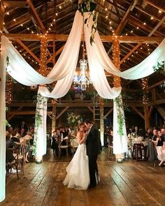 barn wedding reception ideas with draping fabric and lighting Modern Rustic Barn Wedding Inspiration Wedding Reception Ideas, Barn Wedding Decorations, Wedding Themes, Wedding Ceremony, Wedding Planning, Rustic Wedding Venues, Barn Wedding Lighting, Light Wedding, Ceiling Draping Wedding