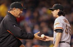 Game 5/162, 4/11/2012; Manager Bruce Bochy removes starting pitcher Tim Lincecum after only 2.1 innings, the shortest start of his career (8 hits, 6 ERs).