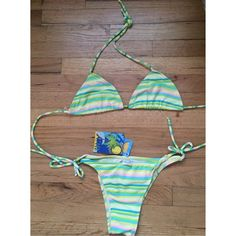 🚨24HR SALE🚨 rainbow striped brazilian bikini brand new with tags, never worn! • no lining, but as you can see this hasn't even been tried on • adjustable • awesome for this summer • very trendy right now fits a size xs best Swim Bikinis