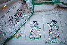 Bhagalpuri Tussar silk, beige colored plain saree which is handpainted on the border and pallu with a green colored piping. The painting is inpired by the murals of fishing in bhagalpur across the ganges and a typical bhagalpuri wedding. This simple yet elegant work of art can be found at Kankatala.    Tell us in comments when you would wear this saree?  #bhagalpuri #silk #tussar #silk #kankatala #greenpiping #muralart #weddingart #beige #cream #elegance #simplistic #minimalistic