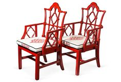 Red Chinese Chippendale Chairs, Pair on OneKingsLane.com