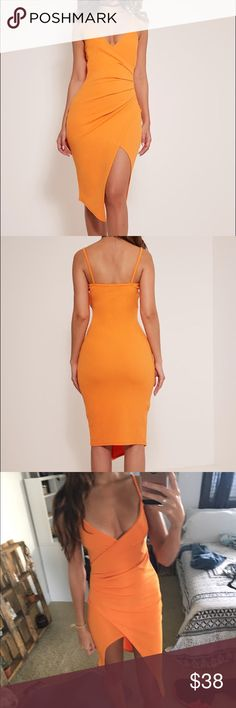 PrettyLittleThing Bright Orange Wrap Dress midi NWT. I ordered a few different colors in this. It is an AUS size 6 which is the same as an XS but I would say it fits like a small. This color is so beautiful !!! Photos don't do it justice... NOT NASTYGAL Topshop Dresses Midi