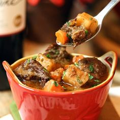 BEST EVER Hearty Beef Soup! Juicy tender chucks of beef that melt in your mouth in a rich soup loaded with vegetables.