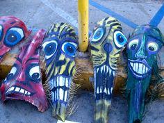 painted palm fronds art - Google Search Palm Frond Art, Palm Fronds, Tiki Faces, Sea Art, Outdoor Art, Tropical Fish, Wood Sculpture, Art Google, Palm Trees