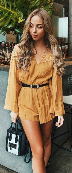 #spring #outfits Mustard V-neck Dress + Black Belt
