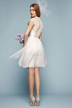 Robe de Mariée Haute Couvert Avec Manche Épeules Enveloppants en Satin Avec Bouton