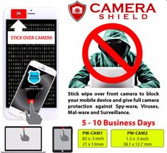 "Don't get CAMfected! This SmartPhone Privacy Camera Shield has you Covered! - Stick wipe over front camera to block your phone camera and give full camera protection against Spyware Viruses Malware and Surveillance. - Wipe and clean your phone / tablet screen mirror or lens with the fabric side of the cleaner. When not in use stick and store the cleaner over your camera. Reusable thousands of times! - Camera Shield comes attached to your choice of a full color business card or 4"" c 6""…"