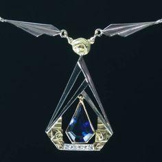 Francouzsky náhrdelník Art Deco se safírem a diamanty, c1930