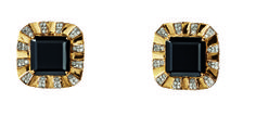 Desire Half Earrings in 18K Yellow Gold with Black Quartz and Diamonds