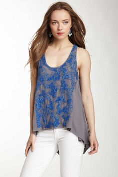 ADDISON Matte Sequin Accent Tank by Spring Style on @HauteLook